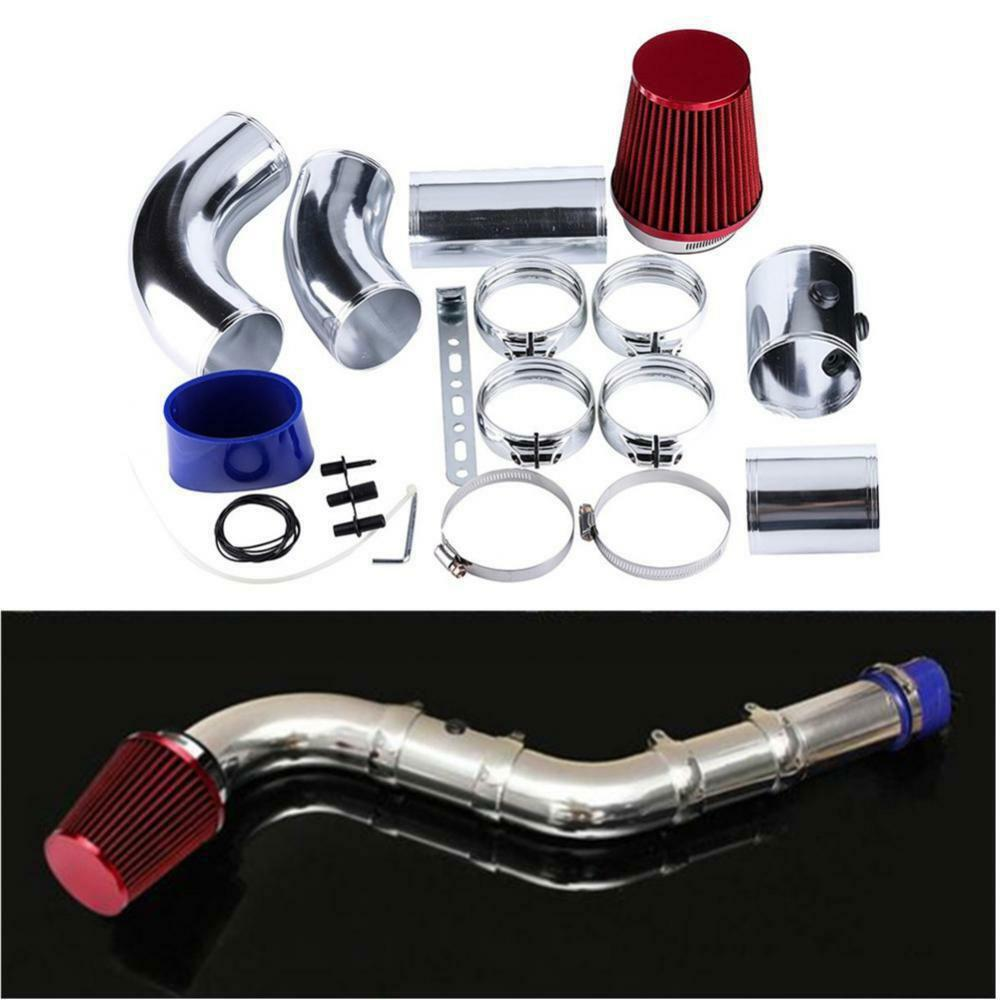 Universal 76mm/3 Aluminium Car Cold Air Intake Filter System Hose Pipe Tube Kit Accessories