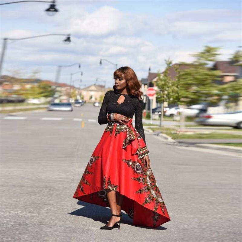 f971eb60a 2017 Nuevas Mujeres de Cintura Alta Falda Grande Columpio Nacional Africano  Impreso Faldas de la Tobillo Longitud de Diseño Popular Hola Lo Falda en ...