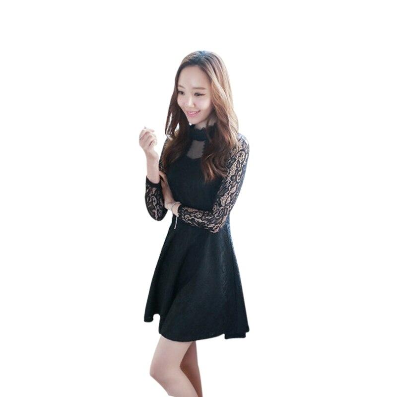 baf38ab4ff7 2018 New Fashion Spring Autumn Women Lace Dress Y Elegant
