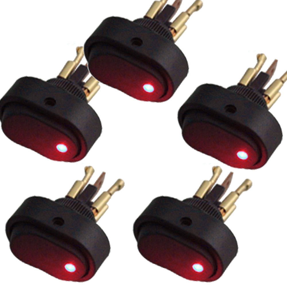 5 X 12V 30A Heavy Duty White LED OFF//ON Rocker Toggle Switch 3Pin Car Sales
