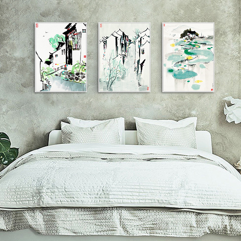 HAOCHU Nordic Canvas Painting New Chinese Decorative Painting Modern Poeters Wu Guanzhong Yangtze River Delta Painting