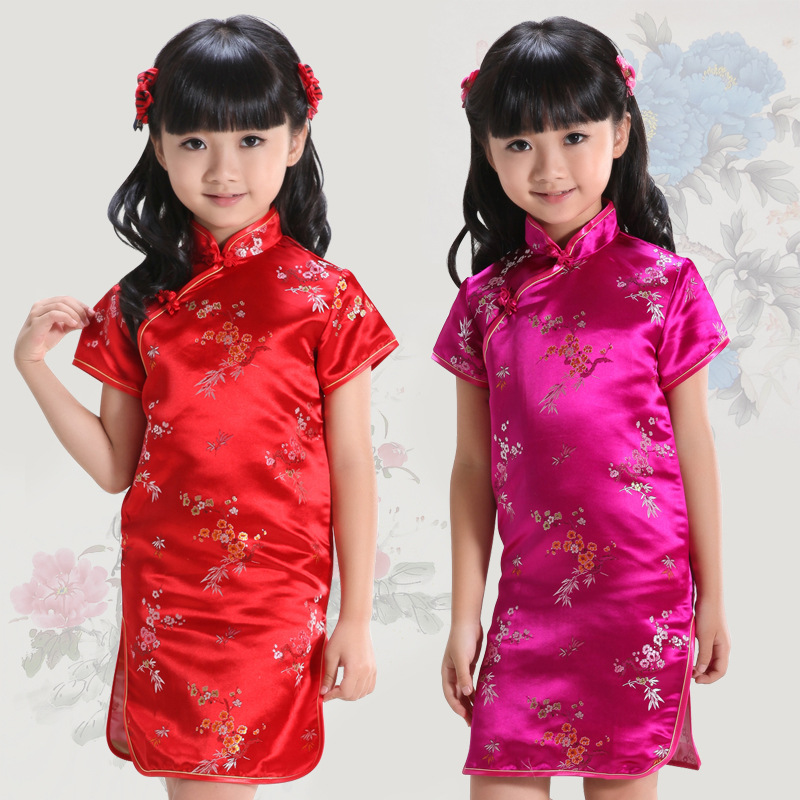Free Shipping! Chinese Cheongsam for Grils China Traditional Dress for Kids One-piece Dress for Kids china post chinese chronological stamps 2008 7 earthquake relief unity is strength the complete one free shipping