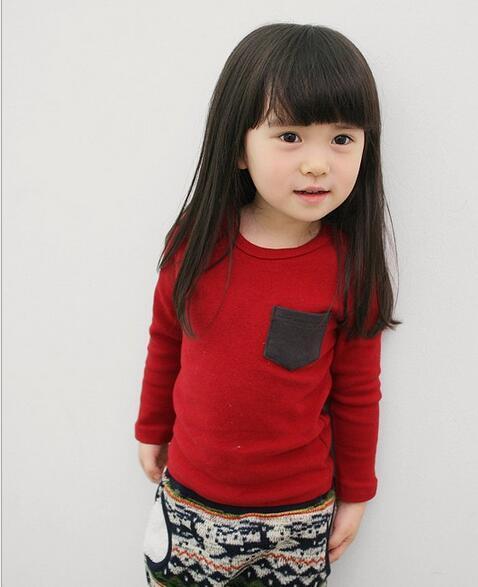 Sólido de Color Caramelo de Los Niños Camisetas Para Chicas Manga Completa Roupas Infantis Menino Otoño de Lana O-cuello de la Camiseta Para Niños