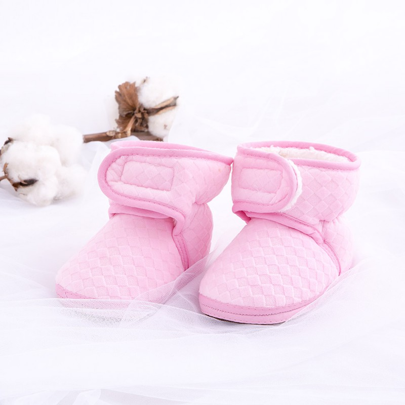 Newborn Baby Infant Toddler Winter Warm Solid Color Fleece Newborn Soft Bottom Anti-skid First Walkers Shoes M1