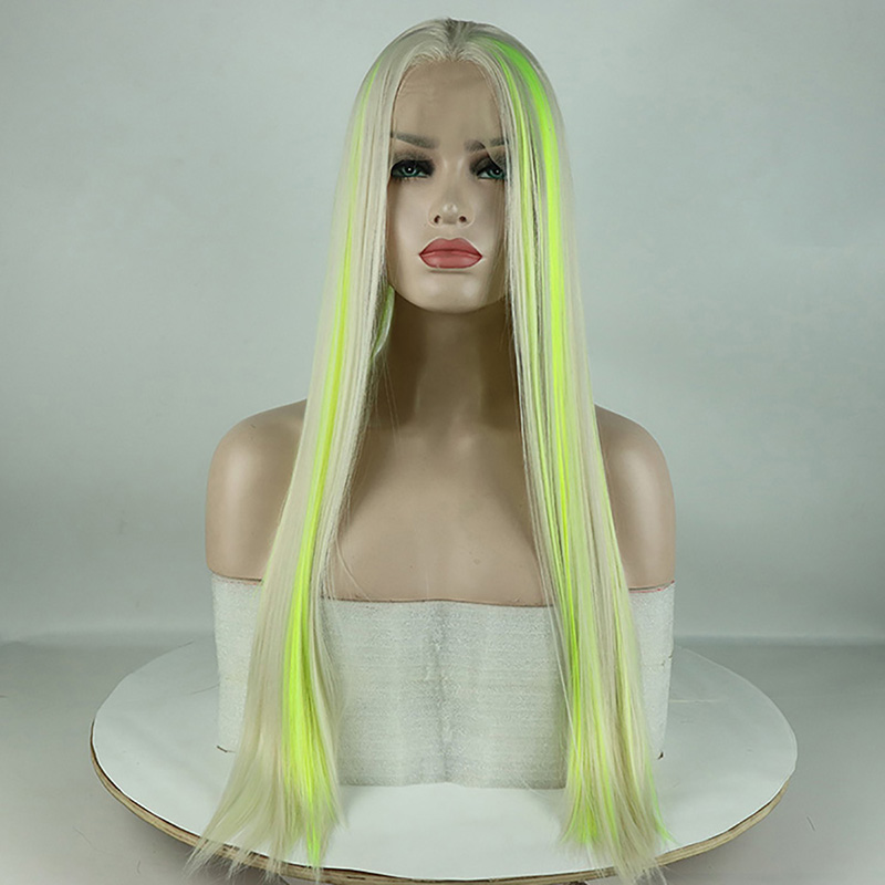 Fantasy Beauty Top Fashion Blonde Highlights Yellow Green Synthetic Lace Front Wig Mixed Color Lace Front