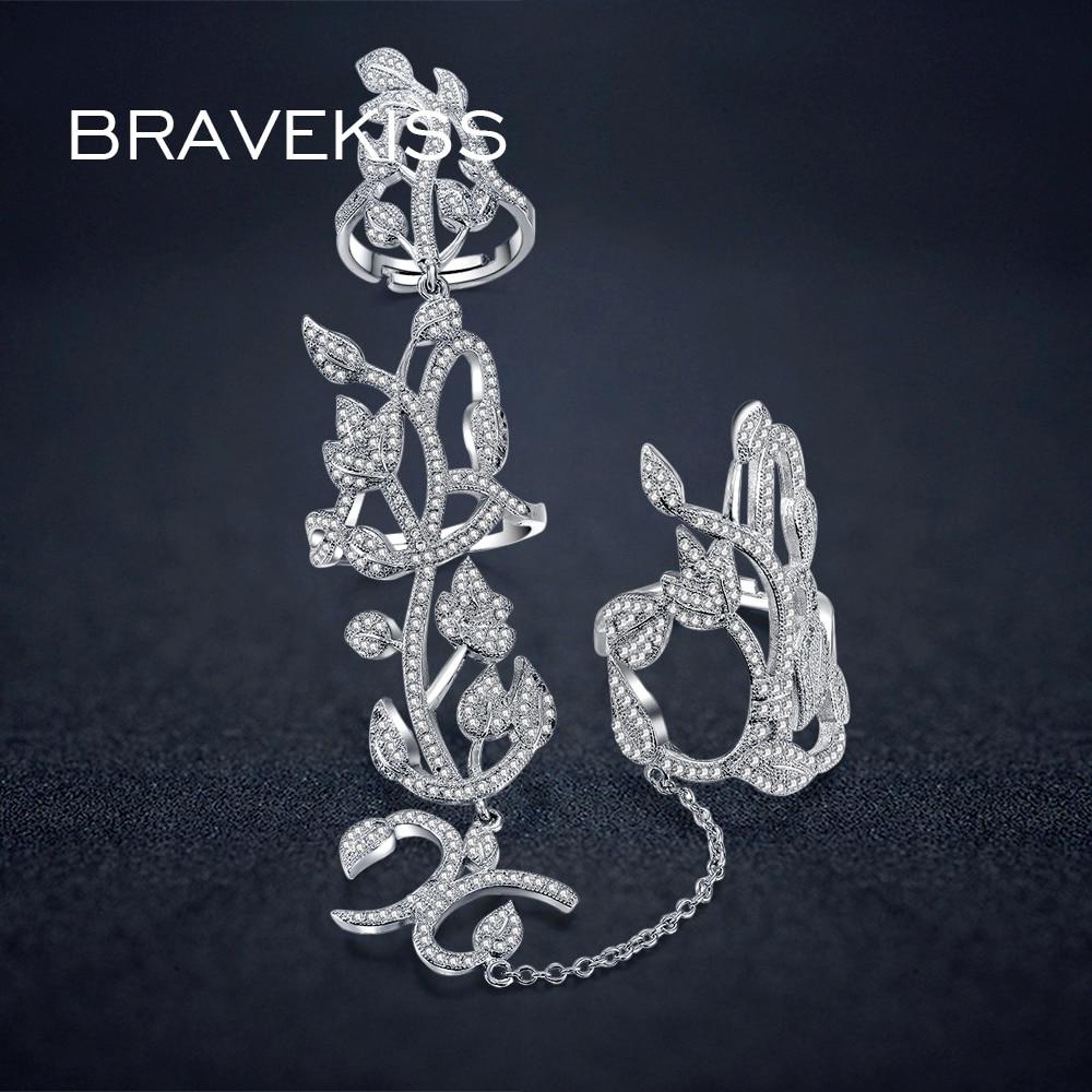 BRAVEKISS нежный Проложить cz Кристалл двойные кольца на пальцы с цепочкой цветок лотоса женские полые кольца anillos bague jewelry BUR0264