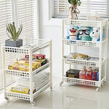 Kitchen Goods Storage Rack Shelf Wheeled Mobile Detachable Toilet Bathroom Makeup Finishing Storage Cabinet Drawer Locker Rack