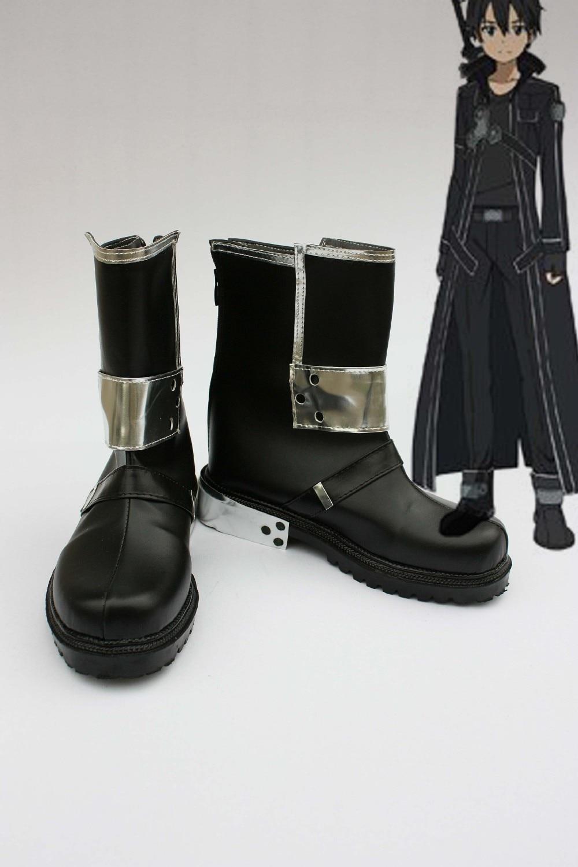 """Pagal užsakymą pagaminti juodi """"Kirito"""" batai iš """"Sword Art Online Cosplay"""""""