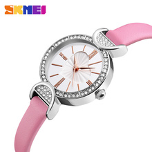 цена SKMEI Lady Wrist 9146 Watch Small Dial Fashion Casual Leather Quartz Wristwatches Women Watches Heart Ladies Clock Montre Femme онлайн в 2017 году