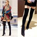 Winter Thigh High Boots Over The Knee Women Long Boots Black Red Fashion Pointed Toe Woman Pumps High Heel Shoes NX136