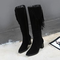 Big Size 9 10 11 17 thigh high boots knee high boots over the knee boots women ladies boots Fringe side zipper