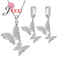 JEXXI Fluttering Insects Design Wedding Jewelry Sets Two Butterfly Necklace Earrings Engagement Accessories 925 Sterling Silver