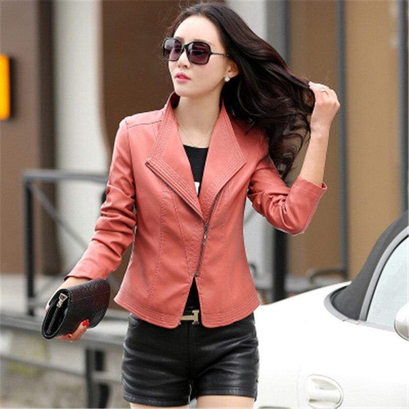 de472a51fe9 KMETRAM 2018 Spring Short Faux Leather Jacket Women Slim Plus Size 5XL  Ladies Motorcycle Biker PU Jackets Deri Ceket coat YJZ184-in Leather    Suede from ...