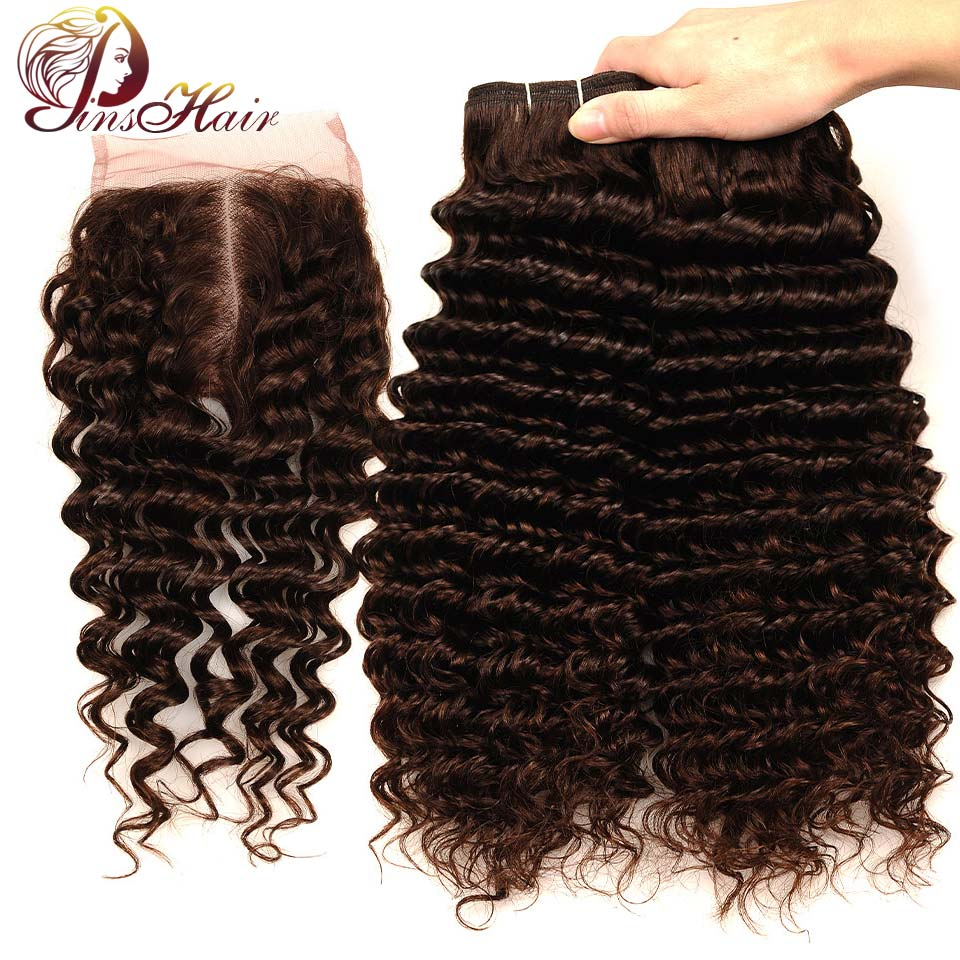 Pinshair Light Brown Brazilian Deep Wave Bundles With Closure #4 Human Hair Bundles With Closure Middle Part Non Remy No Tangle