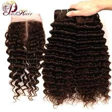 Pinshair Light Brown Brazilian Deep Wave Bundles With Closure #4 Human Hair Bundles With Closure Middle Part Non Remy No Tangle(China)