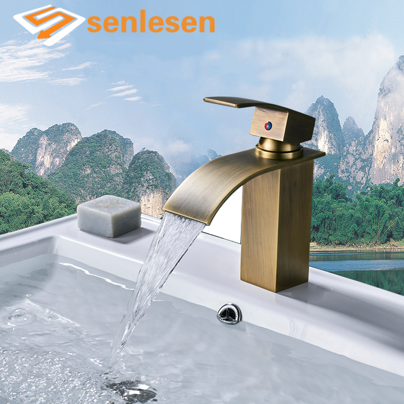 ULGKSD Bathroom Vanity Sink Faucet Antique Brass Deck Mount Hot and Cold Water Mixer Tap Para Basin Faucets Ceramic Valve