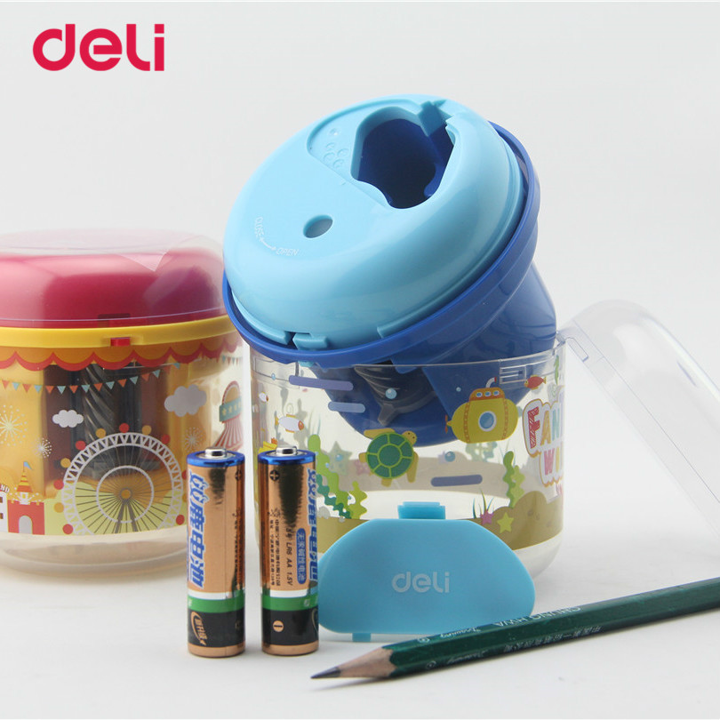 Deli Cute Stationery Electric Pencil Sharpener School Supplies Office Pencil Sharpeners Knife Automatic Student Kid Gift 40D0707 new arrival deli sweet house children pencil sharpeners 0724 cute cartoon students mechanical pencils writing supplies blue