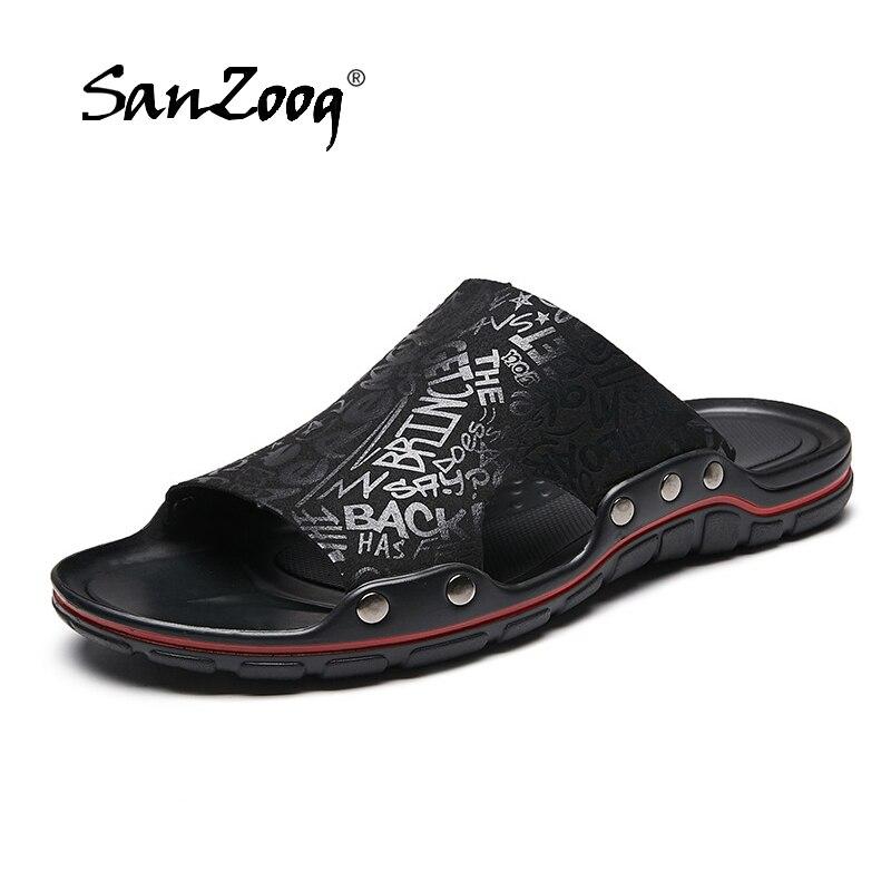 2019 Microfiber Leather Slippers Men Summer Fashion Slides Men Super Cool Teenslippers Sandals Men Beach Slipper Big Size 48