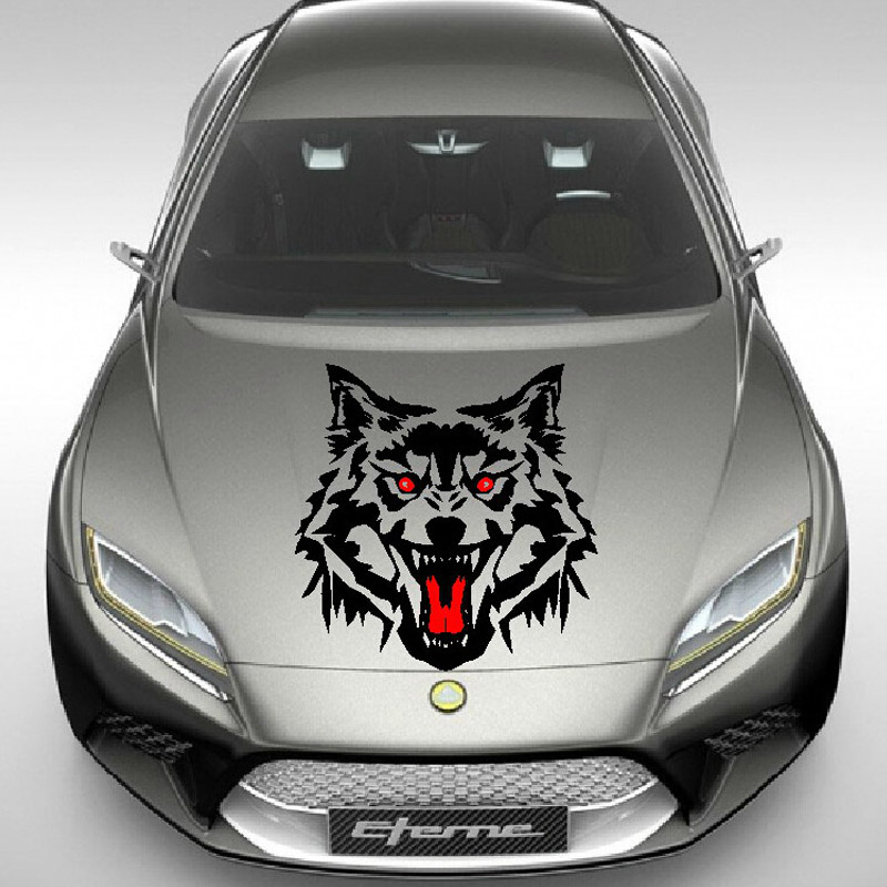 Big Size 50cm 50cm Fiery Wolf Head Howling Car Stickers Hunting Decal Animal Vinyl Motorcycle Auto Accessories  Black White
