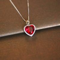 Сердце Руби Винтаж Подвески S925 стерлингового серебра Цепочки и ожерелья Fine Jewelry Свадебные Обручение бижутерия не цепь