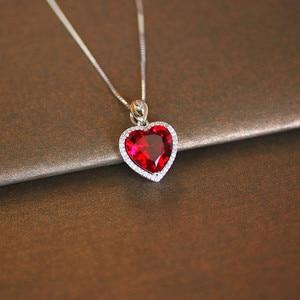 Image 1 - Coração ruby colar de prata esterlina s925, pingente vintage, joia fina para casamento e noivado