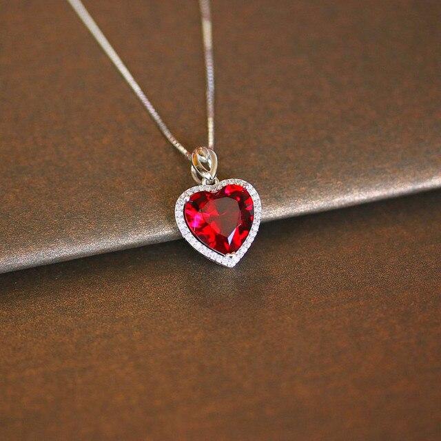 Coração ruby colar de prata esterlina s925, pingente vintage, joia fina para casamento e noivado