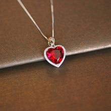 Pendentifs Vintage en argent Sterling S925, collier en forme de cœur, rubis, bijoux fins, Bijouterie de mariée, fiançailles, mariage, sans chaîne