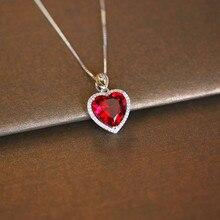 القلب روبي خمر المعلقات S925 قلادة فضية الاسترليني غرامة مجوهرات الزفاف المشاركة بيجو لا سلسلة