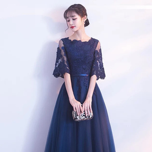 Image 5 - DongCMY Neue Ankunft Abendkleid Bandage Spitze Stickerei Luxus Satin Kurzen Ärmeln Lange Elegante Robe De Soiree Kleid