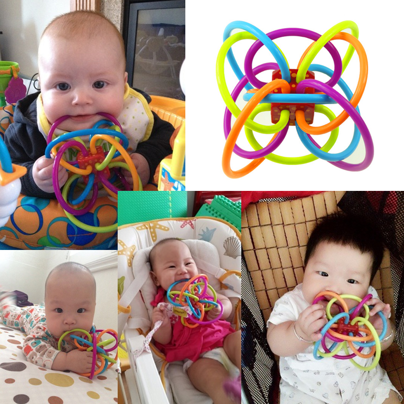 2018 Safety Silicone Biting Teething Teether Balls Ring Fun Rattle Sensory Teether Activity Rings Baby Feeder Teething Toys