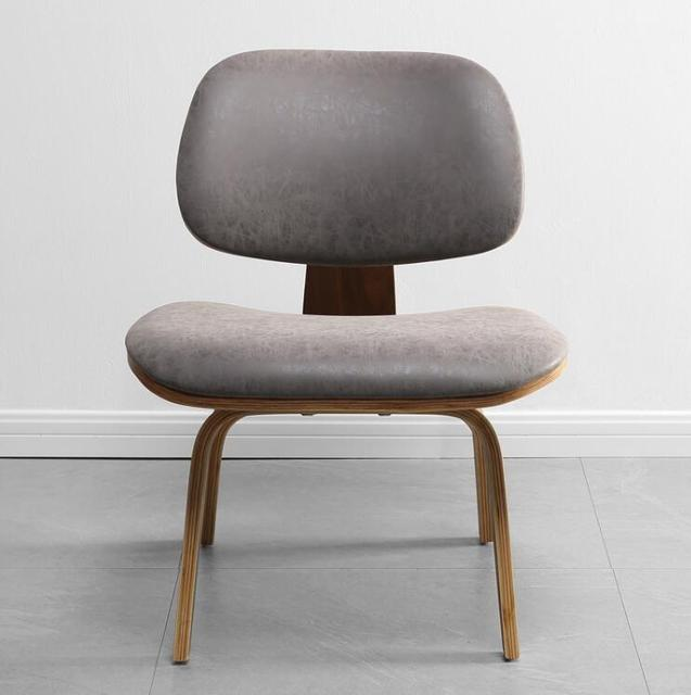 Mid-Century  Lounge Chair w/  Faux Leather Seat & Back Cushion  4
