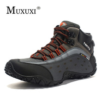 Men leather Breathable Outdoor Shoes comfortable Men Casual Shoes Ankle adventure Footwear boots Anti skidding Large Size 39 46