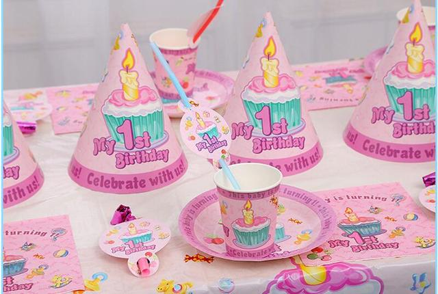 51pcs/set My 1st birthday party decorations kids 6person first birthday party supplies tableware set & 51pcs/set My 1st birthday party decorations kids 6person first ...