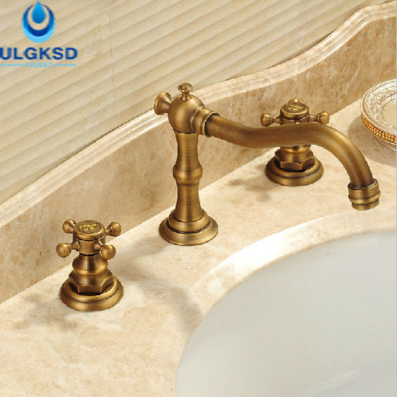 ULGKSD Bath Sink Faucet Bathroom Dual Handles Basin Faucet Deck Mounted Mixer Tap Antique Brass ulgksd basin sink faucet deck mounted mixer tap antique brass single handle bathroom faucet