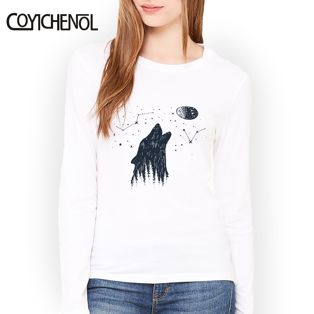 New fashion Instagram picture printed kawaii clothes tshirt o-neck  Spring and autumn Modal top Women Long sleeve slim T-shirt