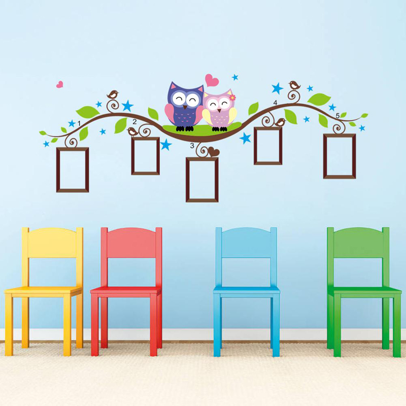 3D Owls Photo Frame Kids Wall Stickers Home Decoration Bedroom Animal Wall Decal Mural Art Living Room Cartoon Adesivo De Parede