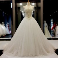 Luxury Pearls Wedding Gown 2017 New Arrival Sexy Sweetheart Off Shoulder White Tulle Ball Gown Wedding
