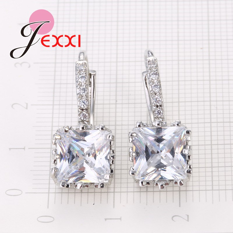 Real   Silver Huggie Lever Back Earrings Luxury Shiny 2 Carat CZ Crystal Cubic Zircon Hot Sale Women Jewelry 5