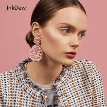 INKDEW New Ethnic Bohemia Drop Earrings For Women Beads Woven Big Earrings Handmade Long Earrings Statement Fashion Jewelry Boho недорого