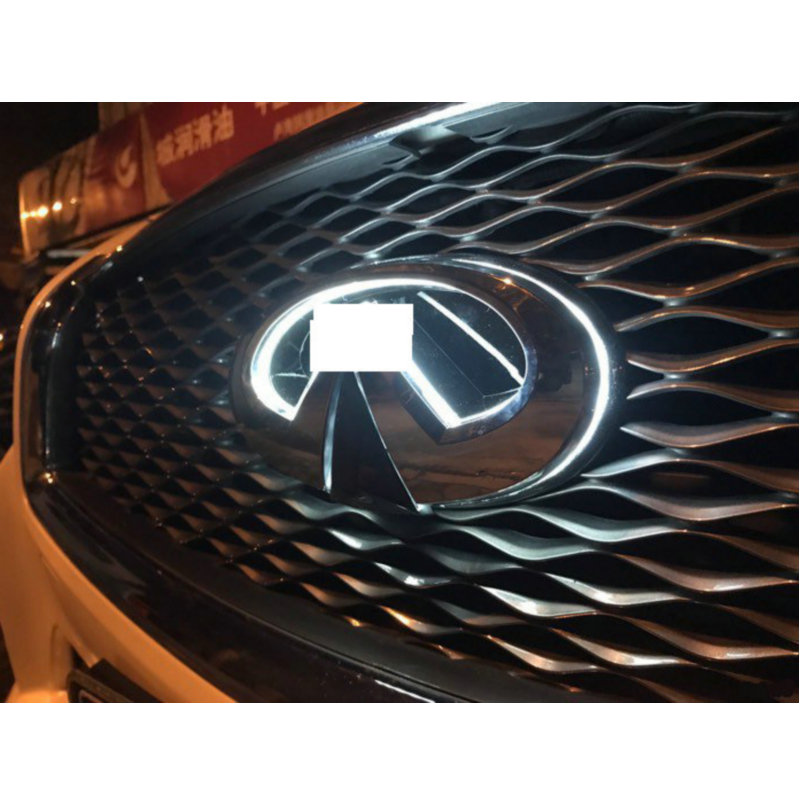 Бесплатная доставка 1 шт./Лот автомобиля-стайлинг подсветкой серебряный автомобилей решетка Сид BlLED эмблема логотип свет для Infiniti Q50s на q50 Q50L