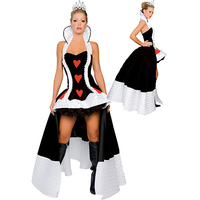 Sexy Deluxe Fantastic Red Queen Heart Costumes Women Halloween Costome