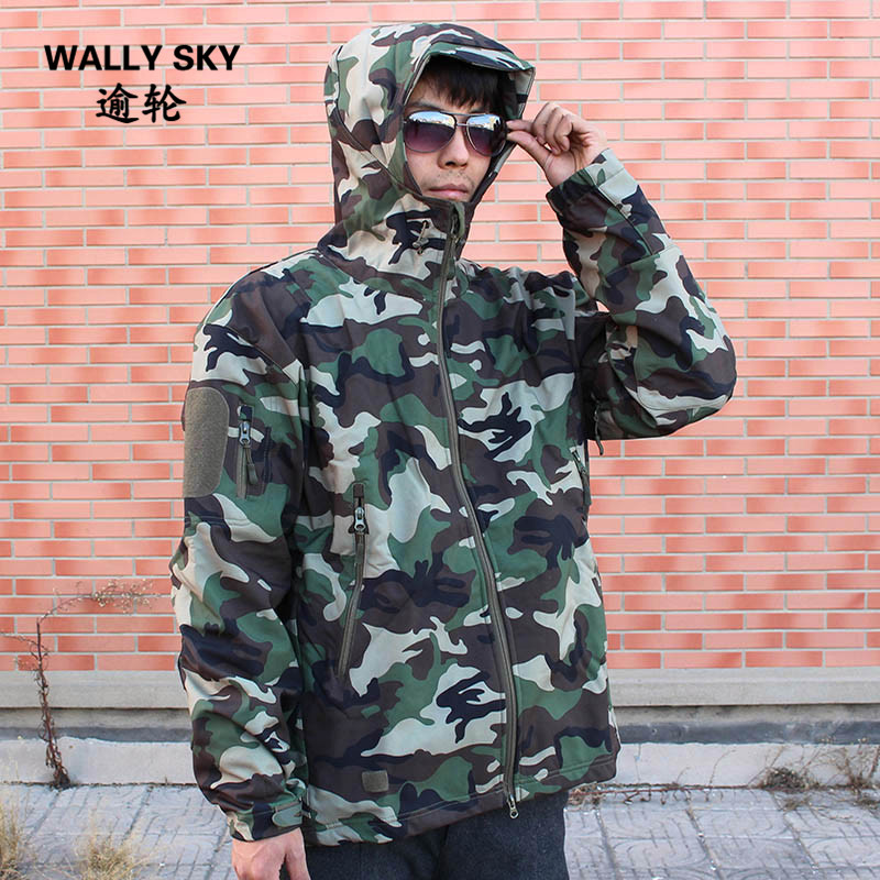 Men's  Bionic Solid Thick Coat Cotton Military Tactical Jacket Windproof Warm Coat Camouflage Hooded Army Clothing lurker shark skin soft shell v4 military tactical jacket men waterproof windproof warm coat camouflage hooded camo army clothing