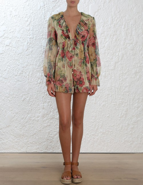 01da6c13c1 2018 Resort 100% silk Taupe Floral Print MELODY FLOATING PLAYSUIT deep V  neck Ruffles full length Sleeves Elastic Waist Belted-in Rompers from  Women s ...