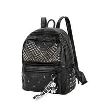 新着 2019 ファッション女性 pu レザーバックパックリベットスクールバッグレディーススモールバックパック旅行バックパック