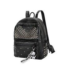 Nueva llegada 2019 moda mujer PU Mochila De Cuero Preppy remache mochilas escolares señoras Mochila pequeña mochila de viaje
