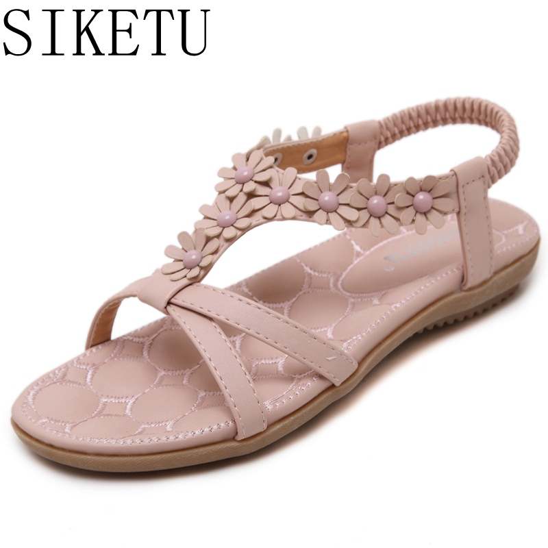 Beautiful Flowers Fashion Women Sandals 2017 Summer Shoes Elastic Band Crystal Flat With Flip Flops T532-2