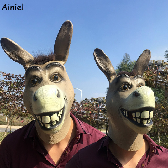 Shrek The Third Funny Donkey Mask Animal Latex Full Face Adult Cosplay Costume Mr Silly Donkey Masks Prop Halloween Party Men