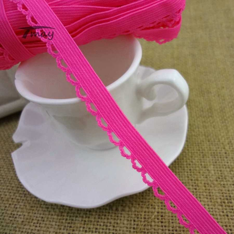 e5733a167 ...  1243 Bright Neon Pink Strip Elastic Band Lace Trim 11MM Wide Stretch  Lace Ribbon Riband ...