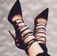 Femmes nouveau design somptueux en daim en cuir dentelle-up bretelles sandales bout pointu cage sandale chaussures dropship pas cher prix