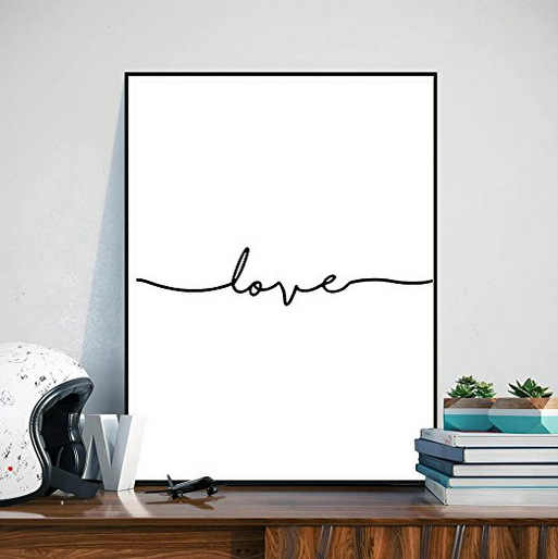 Nordic Minimalist Stick Black and White Canvas Painting LOVE Hallway Wall Pictures for Living Room Posters and Prints Wall Art